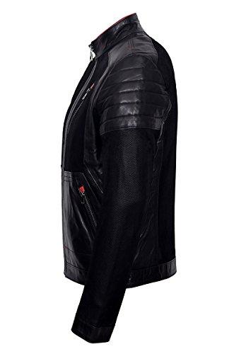"Herren Neu 1720 ""Moto"" Biker Slim Fit Schwarz Ziegen-Wildleder Plus Italienisch Original Leder gesteppte Jacke"