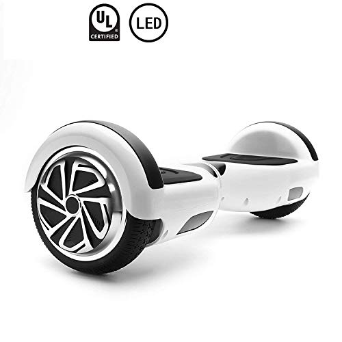 WorryFree Gadgets Self-Balancing Hoverboard w/Bluetooth Speaker, UL2272 Certified - LED Lights and Light-up Wheels (C1+White) ()