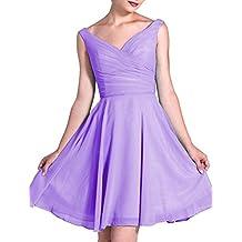 LOVEBEAUTY Women's Short Chiffon V-Neck Summer Dress Party Dress