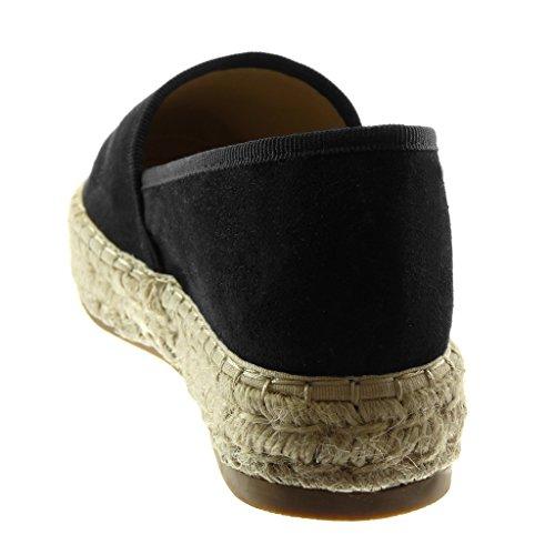 Zeppa 5 cm Moda On 3 Zeppe Angkorly Cuciture Finitura Scarpe Impunture Piattaforma Donna nero Slip Flessibile Corda Intrecciato Espadrillas Tacco wpAq6qxT5g
