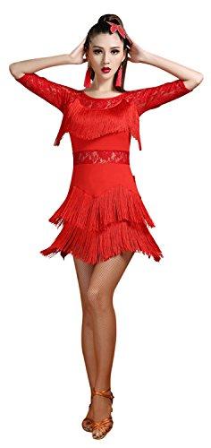 Fuchsia Flapper Dress (Z&X Women Lace Fringe Flapper Tango Rumba Cha Cha Latin Dance Dress with Shorts Medium Red)