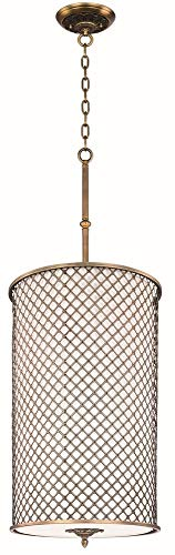 Maxim 22368OMNAB Manchester 6-Light Entry Foyer Pendant, Natural Aged Brass Finish, Glass, MB Incandescent Bulb , 100W Max., Damp Safety Rating, Standard Dimmable, Glass Shade Material, 2300 Rated - Six Ornate Cast Light