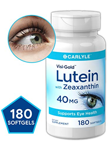 Lutein and Zeaxanthin 40 mg | 180 Softgels | Supports Eye Health | Non-GMO, Gluten Free Supplement | by Carlyle