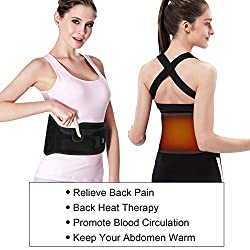 Rechargeable Heating Waist Belt - Far Infrared Electric Back Heat Pad Stomach Therapy Wraps with 3 Modes Pain Relief for Abdominal Stomach Lumbar Spine Arthritis, Strains, Sprains