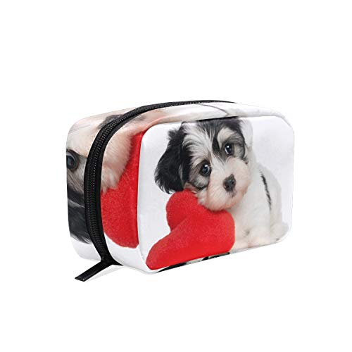Cosmetic Makeup Bag Pouch Dog Heart White Clutch]()
