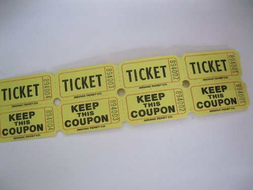 250 Yellow 50/50 Double Stub Raffle Tickets by 50/50 Raffle Tickets