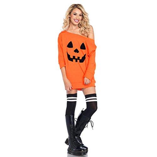 Womens Dress,FUNIC Women Cold Shoulder Pumpkin Printed Costume Dress Halloween Festival Fancy Dress (XL, Orange)