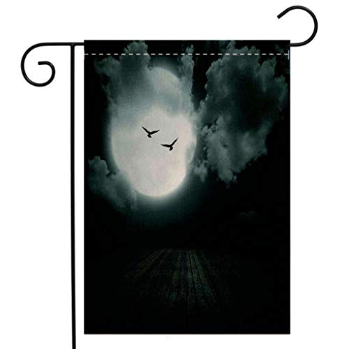 BEIVIVI Creative Home Garden Flag Gothic Danger Night with Cloudy Full Moon and Bats Birds in The Dark Haunted Lands Artful Print Teal Welcome House Flag for Patio Lawn Outdoor Home Decor