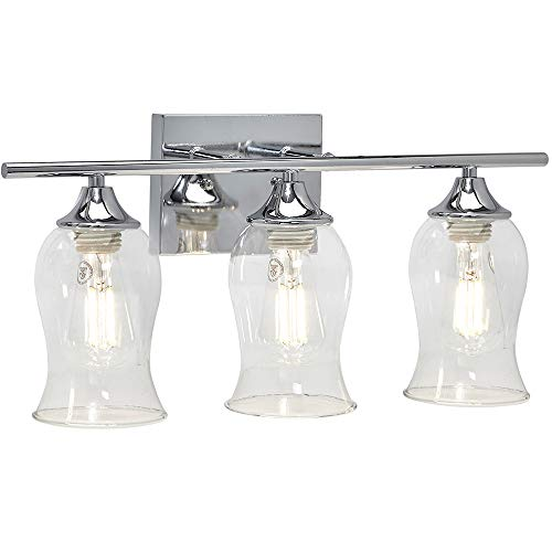 Classical 3 Glass Shade Polished Chrome Bathroom Vanity Light Fixture | 2700K LED Bulbs Included ()