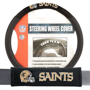 New Orleans Saints NFL Steering Wheel Cover and Seatbelt Pad Auto Deluxe Kit
