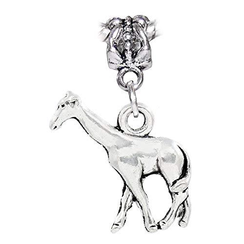 (Giraffe Zoo Africa Safari Wild Animal Park 3D Dangle Charm for European Bracelet Crafting Key Chain Bracelet Necklace Jewelry Accessories Pendants)