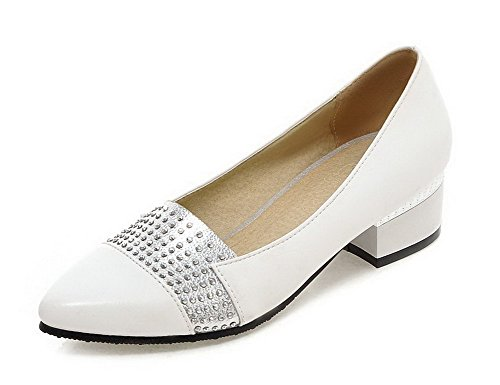 VogueZone009 Women's Assorted Color PU Low-Heels Pointed Closed Toe Pull-On Pumps-Shoes White stL9e