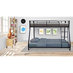 Bedroom Twin Bunk Bed,Sturdy Metal Frame with Ladder and Safety Rails,Twin Over Full Bed with Rugged Structure of More Slats… bunk beds