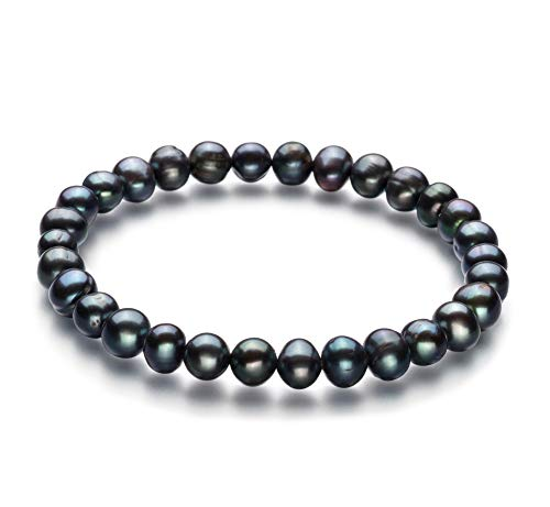 Bliss Black 6-7mm A Quality Freshwater Cultured Pearl Bracelet for Women-8 in Length