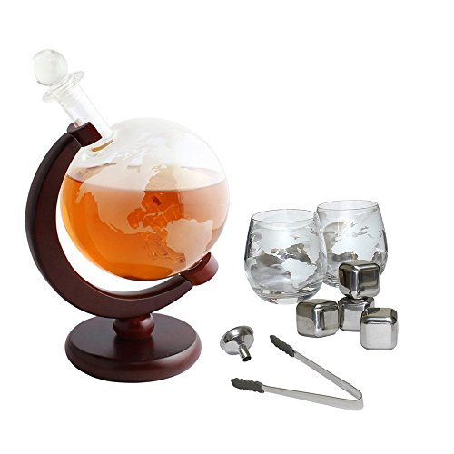Brandy Set - Tabletop Whiskey Decanter Set 1000ml Globe Decanter, Globe Glasses and Stainless Steel Whiskey Stones