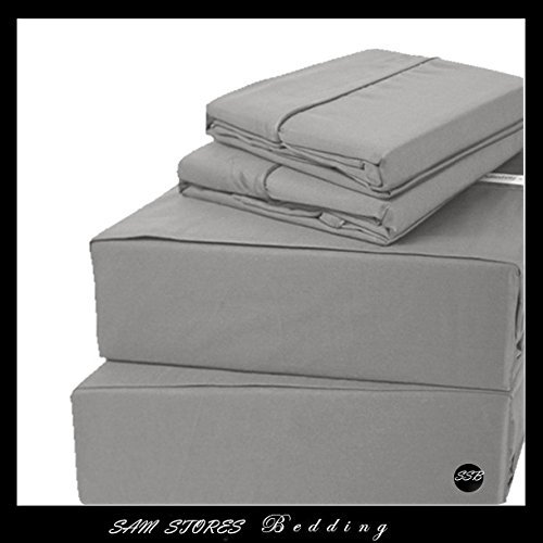 - Sam Stores Luxurious 100% Egyptian Cotton 600TC Cal-King Size Attached Waterbed Sheet Set Solid Elephant Grey