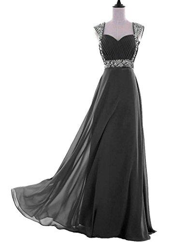 mousseline soie Kmformals marie Robe de Longue de en soire de soie Noir en robe mousseline de qvRqT8