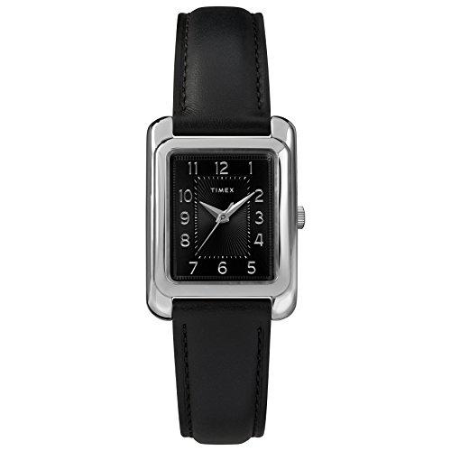 (Timex Women's TW2R89700 Meriden Black/Silver-Tone Leather Strap Watch)