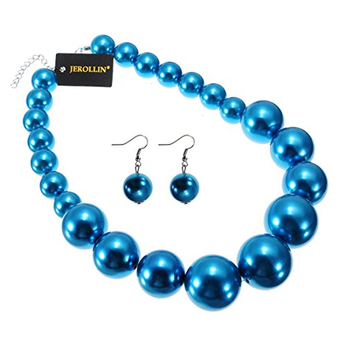 Fashion Resin Simulated Pearl Bule Beads Chain Chunky Choker Bib Necklace Hook Earrings Jewelry Set