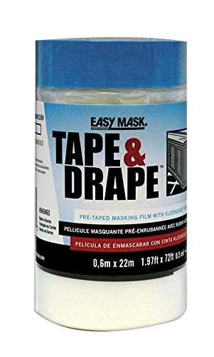 Tape Mask Applicator Pre (Easy Mask Pre-Taped Drop Cloth Plastic 0.5 Mil 24