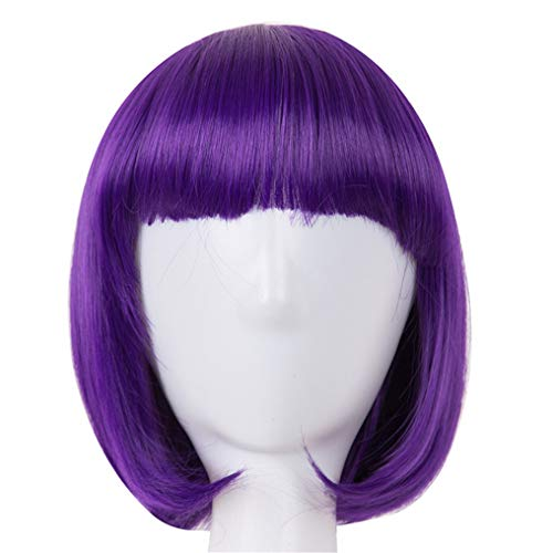 Peony red Cosplay Wig Synthetic Heat Resistant Short Wavy Women Flat Bangs Hair Costume Purple 12inches -