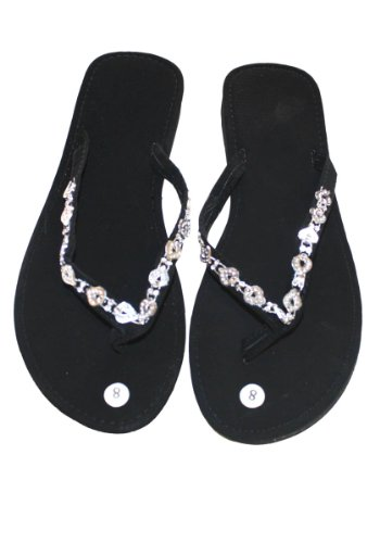 Dona Michi Leather Womens Flip Flop Decorated Straps Comportable Fit ()