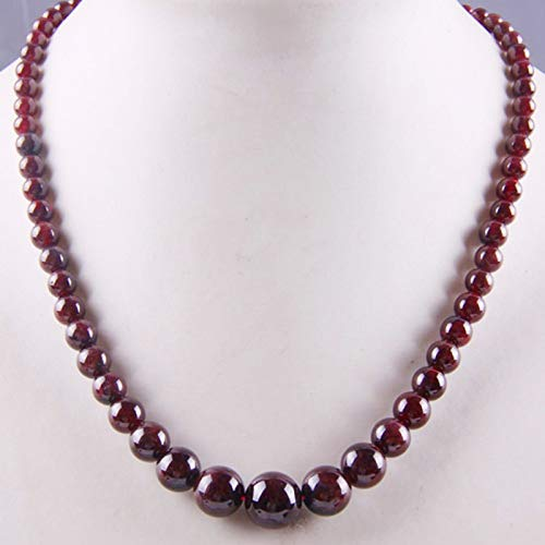 Natural Garnet Graduated Round Beads Necklaces (17 Inches)
