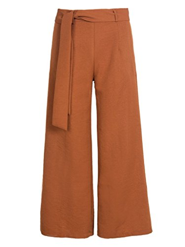 PERSUN Womens Brown Cropped Palazzo
