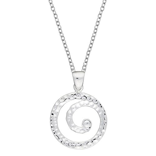 Silverly Women's .925 Sterling Silver Spiral Swirl Circle Hammered Pendant Necklace, 46cm