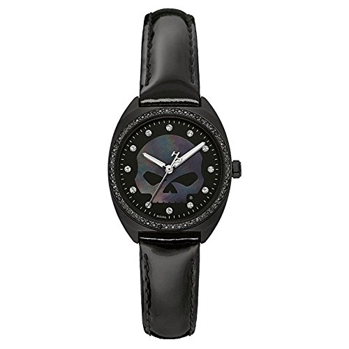 Harley-Davidson Women's Crystal Willie G Skull Logo Watch, Black Finish 78L125