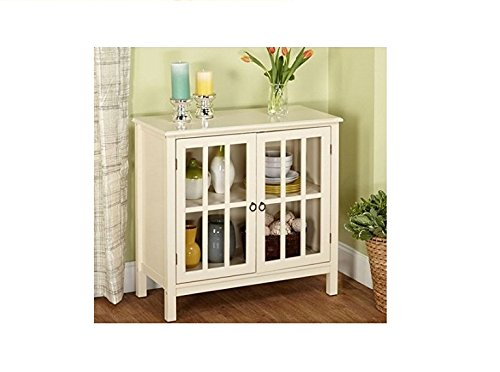 - Cumberland Double Glass Door Cabinet (Antique White)