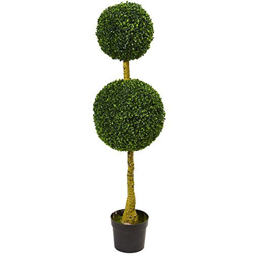 Double Topiary Sphere - Nearly Natural Artificial, UV Resistant 4.5' Double Boxwood Topiary Tree (Indoor/Outdoor), Green