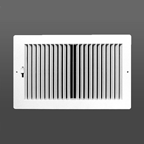 Two-way plastic register side wall/ceiling air register with multi-shutter damper in white (12