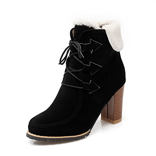 Up AmoonyFashion Closed High Frosted Round Toe Solid Black Lace Heels Boots Women's rqrz7UZ