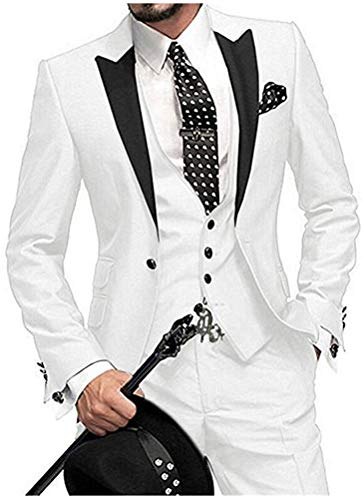 One Button 3 Pieces White Wedding Suits Notch Lapel Men Suits Groom Tuxedos White 42 chest / 36 waist