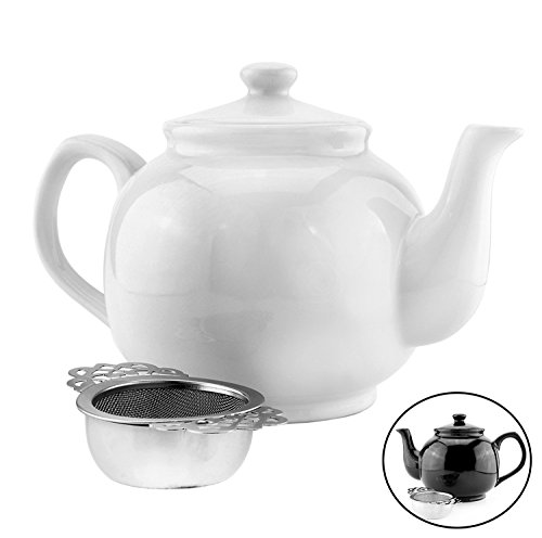 42 Oz White Stoneware Chai Teapot w/ Empress Tea Strainer; 5.25 Cup Max Capacity Glazed Ceramic Tea Pot & Stainless Steel Strainer w/ Caddy