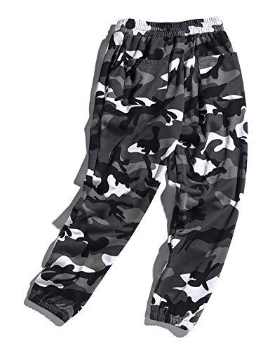 Allentati Casuali Unisex Cammuffamento Pantaloni Modo Del Idopy Sportivi Grigio Allentato Lunghi Di qwvtZYpnI