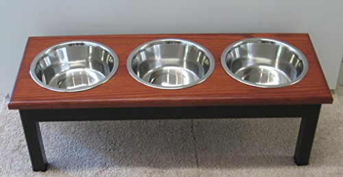 Classic Pet Beds 3-Bowl Traditional Style Ash Pet Diner, Large, Espresso/Cherry