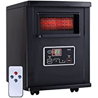 1800 Sq. Ft Electric Portable Infrared Quartz Space Heater Remote Black