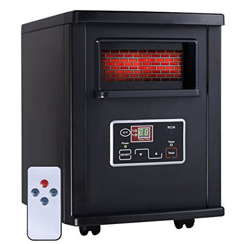 Apontus 1500 Watt Electric Portable Infrared Quartz Space Heater Remote Black