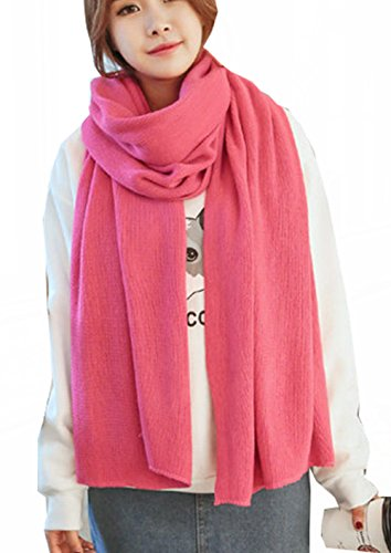 Wander Agio Womens Warm Long Shawl Winter Upset Large Scarf Pure Color Rose - Fashion Long Scarf Winter