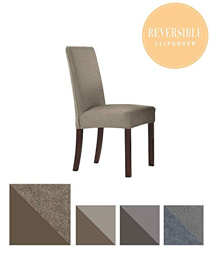 Steel Wide Chair - Perfect Fit Serta | Slip-Resistant Form Fitting Furniture Slipcover for Dining Chair, Short Skirt, Reversible Stretch Suede (Steel Gray Herringbone/Gray Solid)