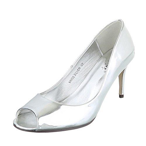 Ital peep toe Silber femme Design Escarpins qE16pwqr
