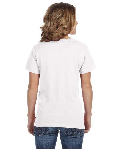 Avil- Camiseta fina de manga corta en forma de V Blanco