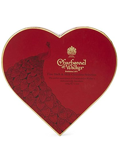 Charbonnel et Walker Peacock Fine Milk And Dark Chocolate Red Heart (net weight 3.5oz)