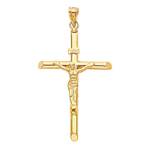 Solid 14K Yellow Gold Crucifix Pendant - Jesus Engraved in Tubular Catholic Cross Charm - High Polished Religious Symbol - Gold Stamped Fine Jewelry for Men & Women, 56 x 37 mm, 3.4 GMS