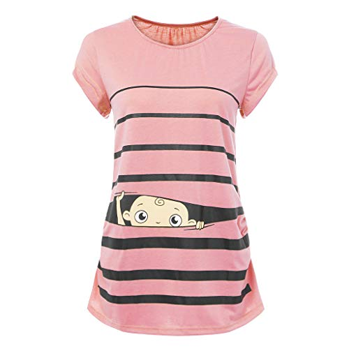 Stripes Snap Beige (Woman Maternity T-Shirt,Stripe Baby Print Short Sleeve Ruched Side Top, Pregnancy Funny Fashion Style Blouse)