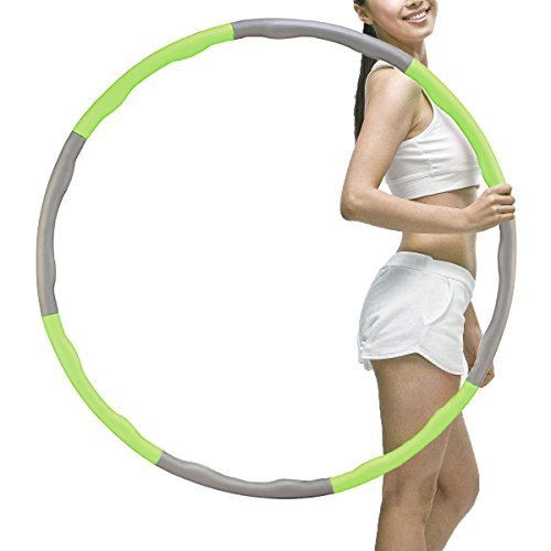 Brave Tarzan Weighted Hula Hoop for Exercise,Fat Burining,Dance-2lb,8 Section Detachable Design-2018 Professional Soft Fitness Hula Hoop Exercise Equipment Hula Hoop (Green)