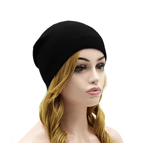 Beanie Hat Ski Knit (Wheebo Beanie Hat Cashmere Stretch Skull Ski Cap for Women Men -Winter Knit Hat Solid Color Unisex Style (Black))