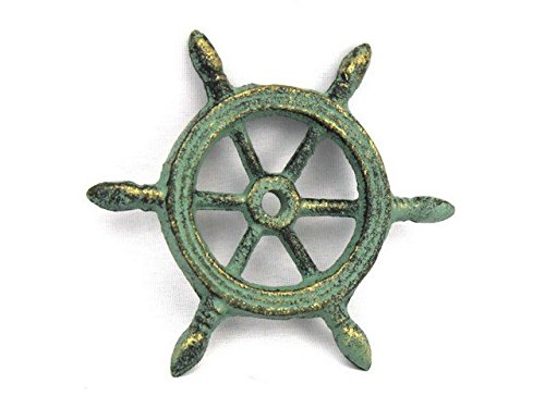 Handcrafted Decor K-1293-bronze Antique Bronze Cast Iron Ship Wheel Decorative Paperweight44; 4 in.